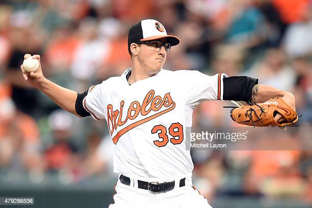 Kevin Gausman of the Baltimore Orioles pitches in the first inning during a baseball game against the Texas Rangers at Oriole Park at Camden Yards on...