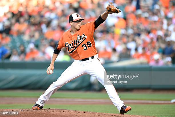 Kevin Gausman of the Baltimore Orioles pitches in the first inning during a baseball game against the Detroit Tigers at Oriole Park at Camden Yards...
