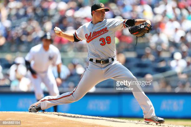 Kevin Gausman of the Baltimore Orioles pitches in the first inning against the Baltimore Orioles at Yankee Stadium on June 11 2017 in the Bronx...