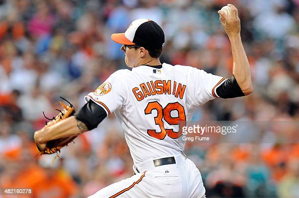 Kevin Gausman of the Baltimore Orioles pitches in the fourth inning against the Atlanta Braves at Oriole Park at Camden Yards on July 27 2015 in...