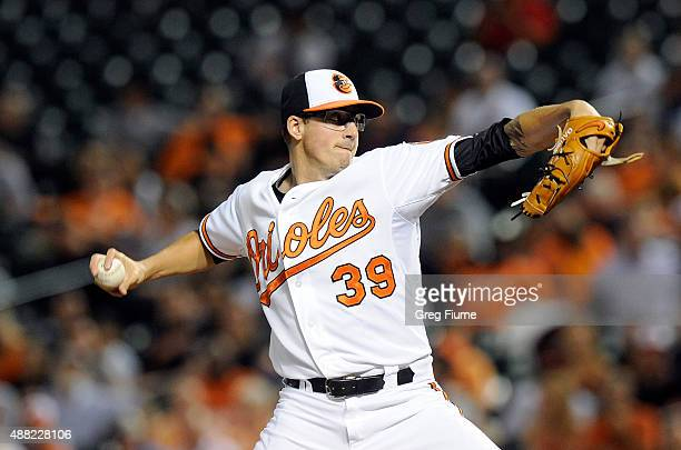 Kevin Gausman of the Baltimore Orioles pitches in the second inning against the Boston Red Sox at Oriole Park at Camden Yards on September 14 2015 in...
