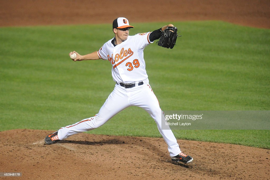 <a gi-track='captionPersonalityLinkClicked' href=/galleries/search?phrase=Kevin+Gausman&family=editorial&specificpeople=6129172 ng-click='$event.stopPropagation()'>Kevin Gausman</a> #39 of the Baltimore Orioles pitches in the sixth inning during a baseball game against the Los Angeles Angels of Anaheim on July 30, 2014 at Nationals Park in Baltimore, Maryland. The Orioles won 4-3.