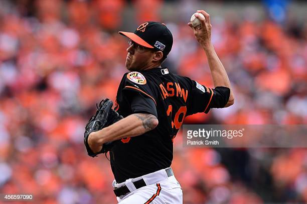Kevin Gausman of the Baltimore Orioles throws a pitch in the fifth inning against the Detroit Tigers during Game Two of the American League Division...