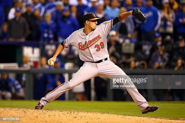 Kevin Gausman of the Baltimore Orioles throws a pitch in the sixth inning against the Kansas City Royals during Game Three of the American League...