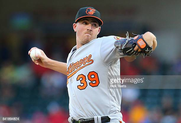 Kevin Gausman of the Baltimore Orioles throws in the first inning against the Texas Rangers at Globe Life Park in Arlington on June 20 2016 in...