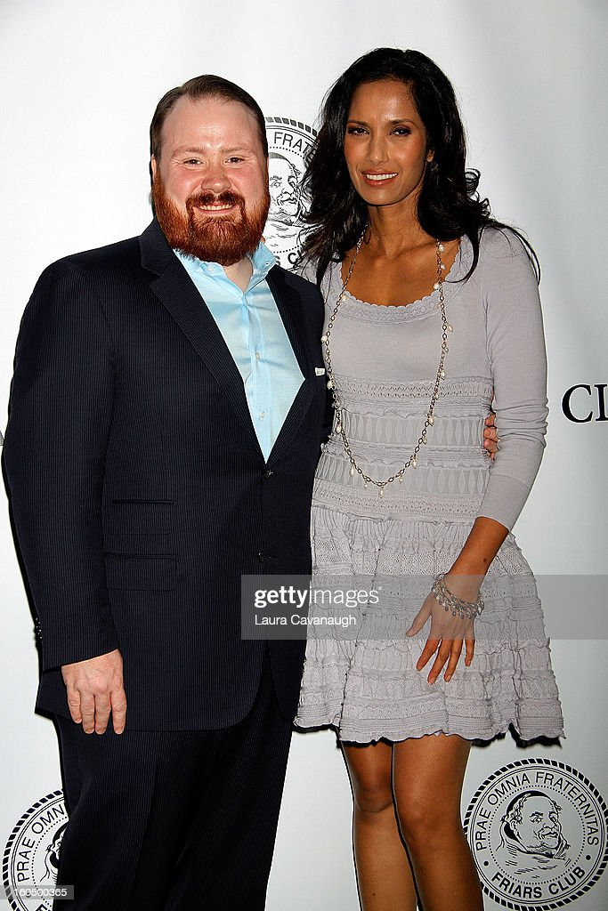 Kevin Gillespie and Padma Lakshmi attend The Friars Club Presents: Do You Think You Can Roast?! Padma Lakshmi at New York Friars Club on February 1, 2013 in New York City.