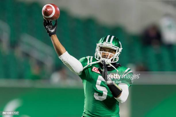 Kevin Glenn of the Saskatchewan Roughriders during pregame warmup for the game against the Ottawa Redblacks at Mosaic Stadium on October 13 2017 in...