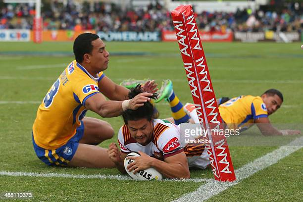 Kevin Gordon of Country dives overe to score a try during the Origin match between City and Country at Caltex Park on May 4 2014 in Dubbo Australia