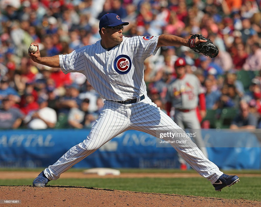 <a gi-track='captionPersonalityLinkClicked' href=/galleries/search?phrase=Kevin+Gregg&family=editorial&specificpeople=240417 ng-click='$event.stopPropagation()'>Kevin Gregg</a> #63 of the Chicago Cubs pitches in the 9th inning against the St. Louis Cardinals at Wrigley Field on May 8, 2013 in Chicago, Illinois. The Cardinals defeated the Cubs 5-4.