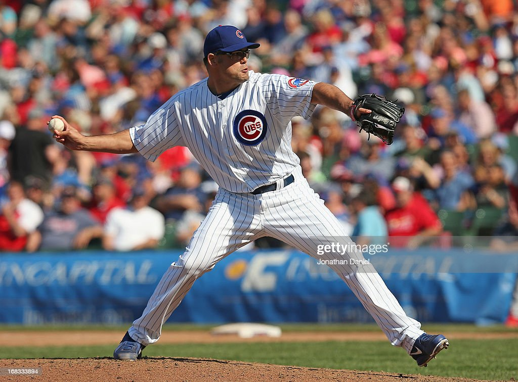 Kevin Gregg #63 of the Chicago Cubs pitches in the 9th inning against the St. Louis Cardinals at Wrigley Field on May 8, 2013 in Chicago, Illinois. The Cardinals defeated the Cubs 5-4.