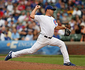 Kevin Gregg of the Chicago Cubs pitches in the 9th inning to the Atlanta Braves in the 9th inning at Wrigley Field on September 20 2013 in Chicago...
