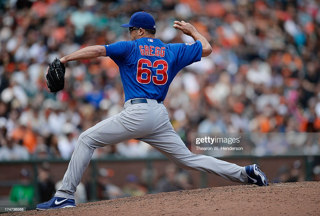 <a gi-track='captionPersonalityLinkClicked' href=/galleries/search?phrase=Kevin+Gregg&family=editorial&specificpeople=240417 ng-click='$event.stopPropagation()'>Kevin Gregg</a> #63 of the Chicago Cubs pitches in the ninth inning against the San Francisco Giants at AT&T Park on July 28, 2013 in San Francisco, California. The Cubs won the game 2-1.