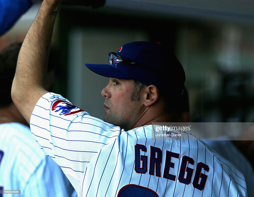 <a gi-track='captionPersonalityLinkClicked' href=/galleries/search?phrase=Kevin+Gregg&family=editorial&specificpeople=240417 ng-click='$event.stopPropagation()'>Kevin Gregg</a> #63 of the Chicago Cubs reacts in the dugout after a loss against the St. Louis Cardinals at Wrigley Field on May 8, 2013 in Chicago, Illinois. The Cardinals defeated the Cubs 5-4.
