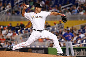 Kevin Gregg of the Miami Marlins pitches during the ninth inning of the game at Marlins Park on June 19 2014 in Miami Florida
