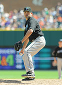 Kevin Gregg of the Toronto Blue Jays pitches against the Detroit Tigers during the game at Comerica Park on July 25 2010 in Detroit Michigan The Blue...