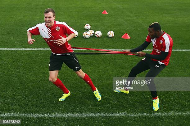 Kevin Grosskreutz and Serey Die exercise during a VfB Stuttgart training session on day 1 of the Bundesliga Belek training camps at Huseyin Aygun...