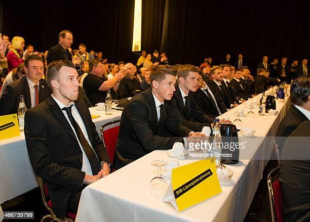 Kevin Grosskreutz Erik Durm and Sven Bender during the Borussia Dortmund Annual Member Meeting on November 24 2013 in Dortmund Germany