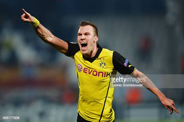 Kevin Grosskreutz of Borussia Dortmund celebrates after scoring his team's second goal during the UEFA Champions League Group F match between...
