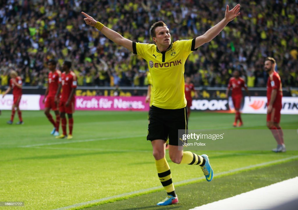 Kevin Grosskreutz of Dormund celebrates after scoring his team's first goal during the Bundesliga match between Borussia Dortmund and FC Bayern Muenchen at Signal Iduna Park on May 4, 2013 in Dortmund, Germany.