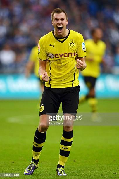 Kevin Grosskreutz of Dortmund celebrates after Nuri Sahin scored the second goal during the Bundesliga match between FC Schalke 04 and Borussia...