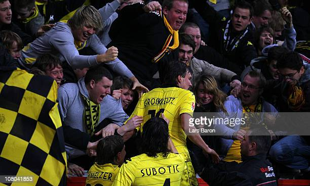 Kevin Grosskreutz of Dortmund celebrates after scoring his teams first goal during the Bundesliga match between Bayer Leverkusen and Borussia...