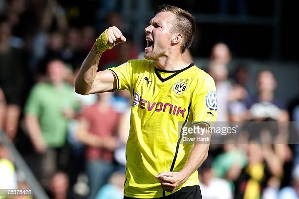 Kevin Grosskreutz of Dortmund celebrates after scoring their first goal during the first round of DFB Cup match between SV Wilhelmshaven and Borussia...