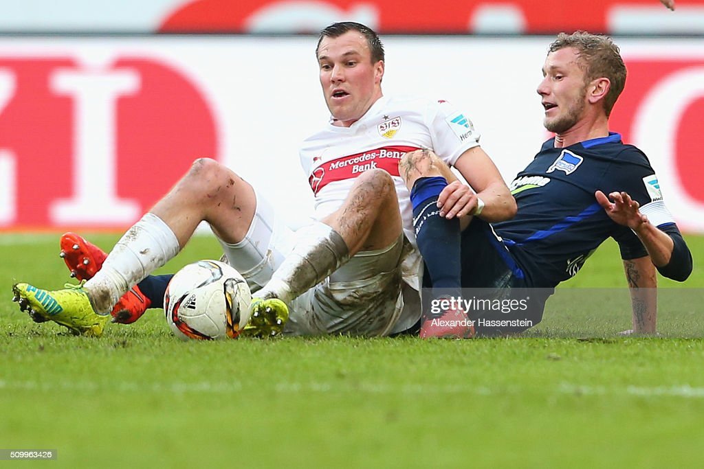 Kevin Grosskreutz of Stuttgart battles for the ball with Fabian Lustenberger (R) of Hertha during the Bundesliga match between VfB Stuttgart and Hertha BSC Berlin at Mercedes-Benz Arena on February 13, 2016 in Stuttgart, Germany.