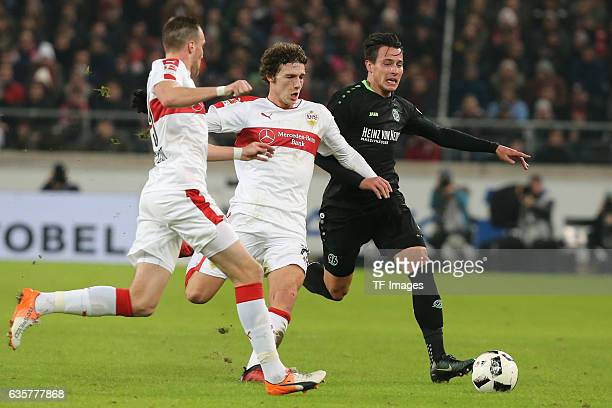Kevin Grosskreutz of Stuttgart Benjamin Pavard of Stuttgart and Edgar Prib of Hannover 96 battle for the ball during the Second Bundesliga match...