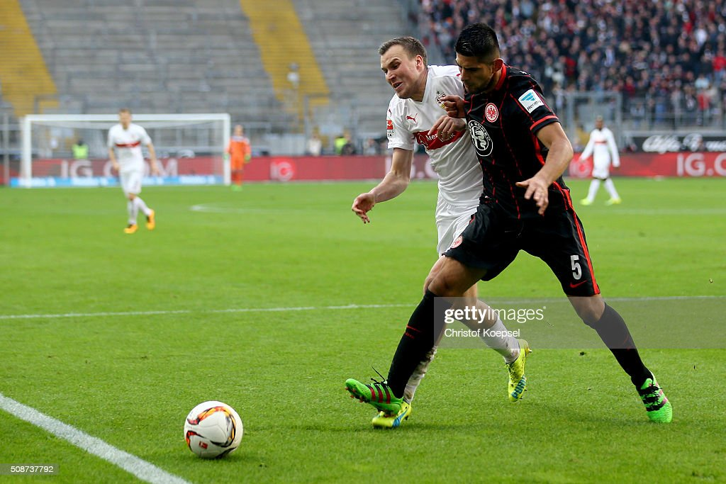 Kevin Grosskreutz of Stuttgart challenges Carlos Zambrano of Frankfurt during the Bundesliga match between Eintracht Frankfurt and VfB Stuttgart at Commerzbank-Arena on February 6, 2016 in Frankfurt am Main, Germany.