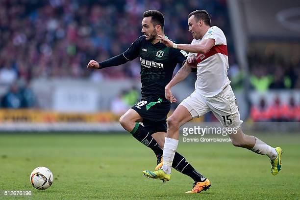 Kevin Grosskreutz of VfB Stuttgart chases Kenan Karaman of Hannover 96 during the Bundesliga match between VfB Stuttgart and Hannover 96 at...