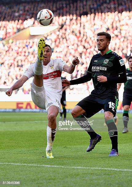 Kevin Grosskreutz of Vfb Stuttgart clears the ball during the Bundesliga match between VfB Stuttgart and Hannover 96 at MercedesBenz Arena on...