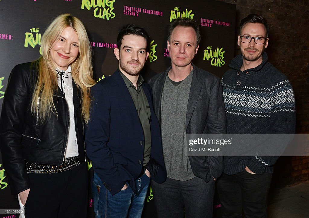 Kevin Guthrie Jamie Ballard and Callum O'Neill attend an after party following the Gala Performance of 'The Ruling Class' at The Bankside Vaults on...
