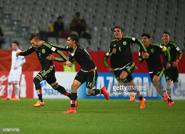 Kevin Gutierrez of Mexico celebrates after scoring a goal during the FIFA U20 World Cup New Zealand 2015 Group D match between Mexico and Uruguay at...