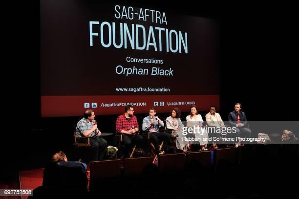 Kevin Hanchard Tatiana Maslany Maria Doyle Kennedy Jordan Gavaris Ari Millen and Kristian Bruun attend SAGAFTRA Foundation Conversations 'Orphan...