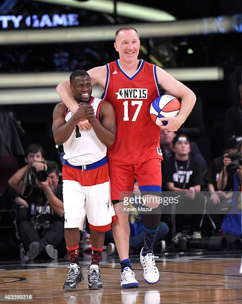 Kevin Hart and Chris Mullin attend the NBA AllStar Celebrity Game at Madison Square Garden on February 13 2015 in New York City
