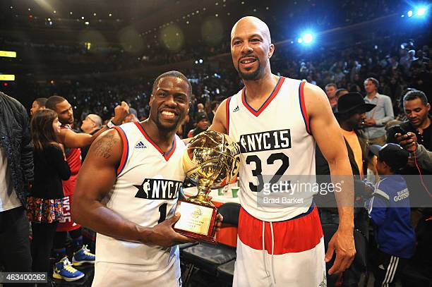 Kevin Hart and Common attend the NBA AllStar Celebrity Game NBA All Star Weekend 2015 on February 13 2015 in New York City