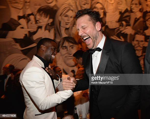 Kevin Hart and Dane Cook attend the 2015 Vanity Fair Oscar Party hosted by Graydon Carter at the Wallis Annenberg Center for the Performing Arts on...