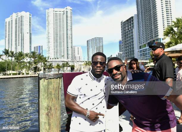 Kevin Hart and DJ Irie attend the Irie Weekend Presents Kevin Hart's All Star Birthday Brunch on July 2 2017 in Miami Florida