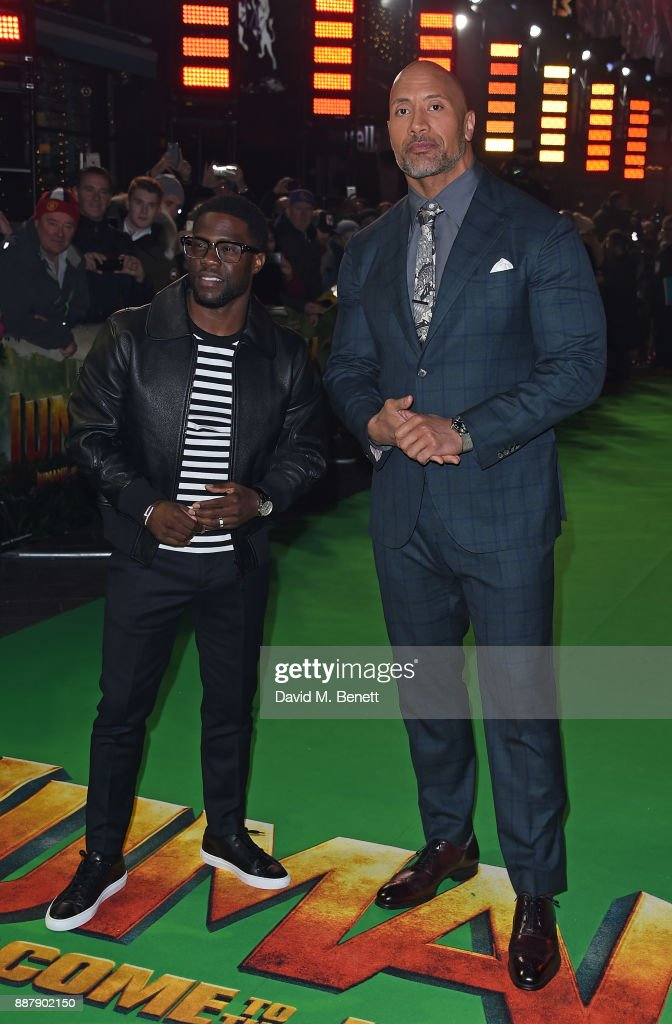Kevin Hart and Dwayne Johnson attend the UK Premiere of 'Jumanji: Welcome To The Jungle' at Vue West End on December 7, 2017 in London, England.