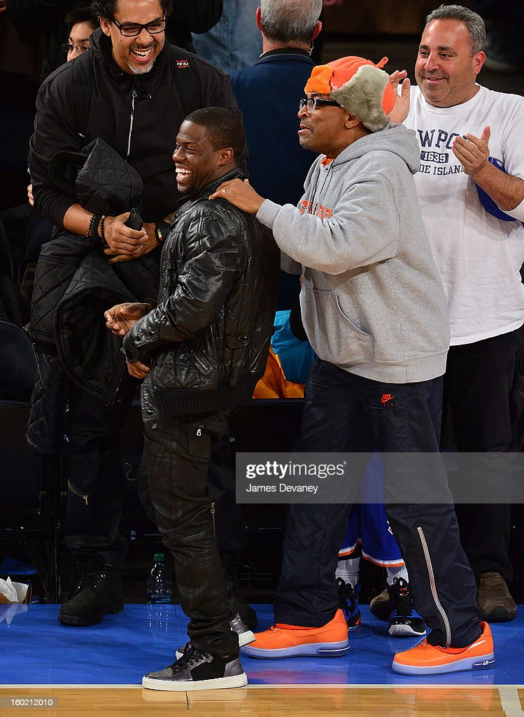 Kevin Hart and <a gi-track='captionPersonalityLinkClicked' href=/galleries/search?phrase=Spike+Lee&family=editorial&specificpeople=156419 ng-click='$event.stopPropagation()'>Spike Lee</a> attend the Atlanta Hawks vs New York Knicks game at Madison Square Garden on January 27, 2013 in New York City.