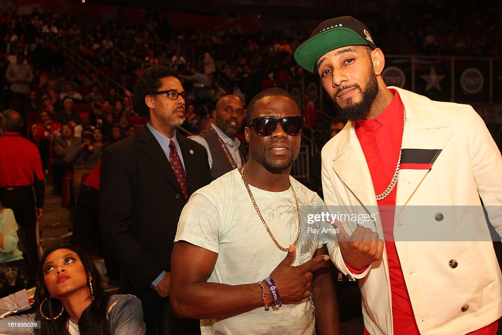 Kevin Hart and Swiss Beats pose for a photo during the 2013 NBA All-Star Game during All Star Weekend on February 17, 2013 at the Toyota Center in Houston, Texas.
