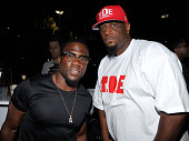 Kevin Hart and Top Dawg attend D'USSE VIP riser and lounge at 'On The Run Tour' at Rose Bowl on August 2 2014 in Pasadena California