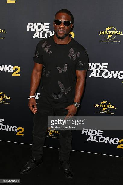 Kevin Hart arrives ahead of the Ride Along 2 Australian Premiere at Hoyts Melbourne Central on February 10 2016 in Melbourne Australia