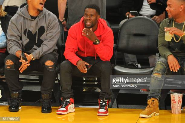 Kevin Hart attends a basketball game between the Los Angeles Lakers and the Philadelphia 76ers at Staples Center on November 15 2017 in Los Angeles...