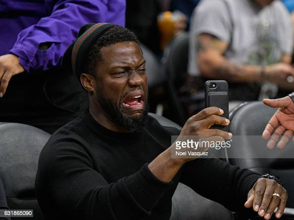 Kevin Hart attends a basketball game between the Oklahoma City Thunder and the Los Angeles Clippers at Staples Center on January 16 2017 in Los...
