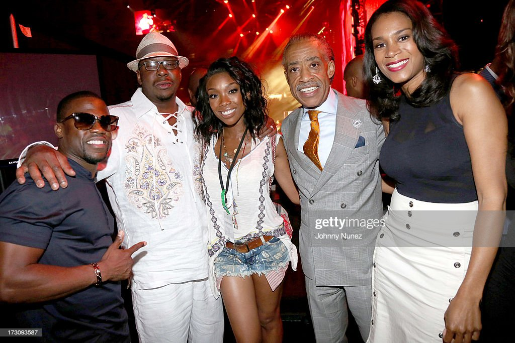 <a gi-track='captionPersonalityLinkClicked' href=/galleries/search?phrase=Kevin+Hart+-+Ator&family=editorial&specificpeople=4538838 ng-click='$event.stopPropagation()'>Kevin Hart</a>, Bobby Brown, <a gi-track='captionPersonalityLinkClicked' href=/galleries/search?phrase=Brandy+Norwood&family=editorial&specificpeople=202122 ng-click='$event.stopPropagation()'>Brandy Norwood</a>, <a gi-track='captionPersonalityLinkClicked' href=/galleries/search?phrase=Al+Sharpton&family=editorial&specificpeople=202250 ng-click='$event.stopPropagation()'>Al Sharpton</a>, and Aisha McShaw attend the 2013 Essence Festival at the Mercedes-Benz Superdome on July 6, 2013 in New Orleans, Louisiana.
