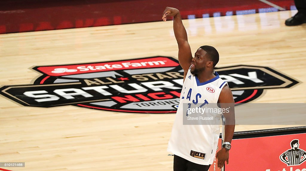 Kevin Hart competes in the three point shootout during the NBA's All-Star Saturday Night. Where players compete in three events, the Skills Challenge, 3-point shooting and Slam Dunk at the in Toronto. February 13, 2016.