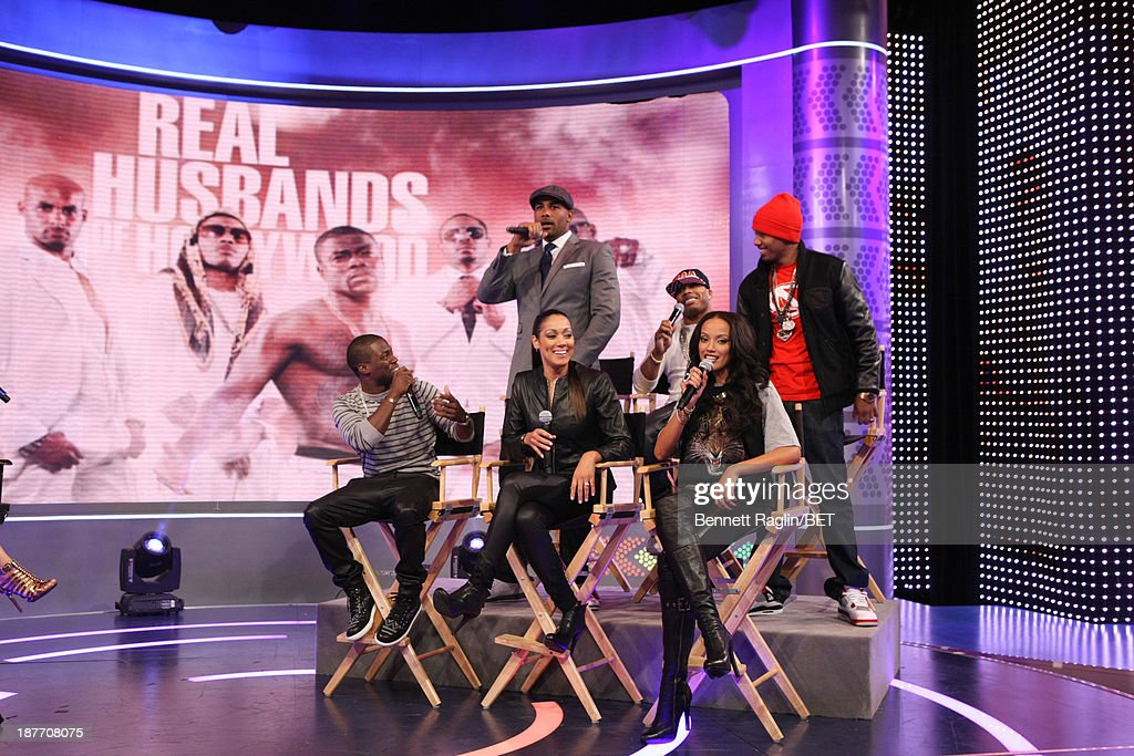 Kevin Hart, Cynthia Kaye McWilliams, Selita Ebanks (back row) Boris Kodjoe, Nelly, and Nick Cannon attend 106 & Park at 106 & Park studio on November 11, 2013 in New York City.