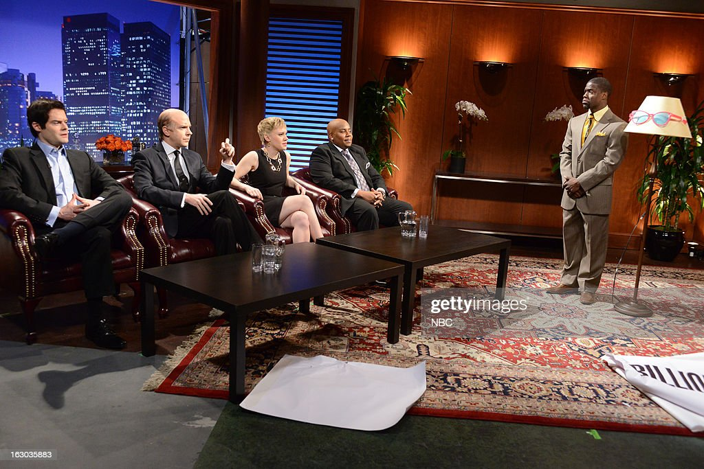 LIVE -- 'Kevin Hart' Episode 1635 -- Pictured: (l-r) Bill Hader, Jason Sudeikis, Kate McKinnon, <a gi-track='captionPersonalityLinkClicked' href=/galleries/search?phrase=Kenan+Thompson&family=editorial&specificpeople=215158 ng-click='$event.stopPropagation()'>Kenan Thompson</a>, Kevin Hart --