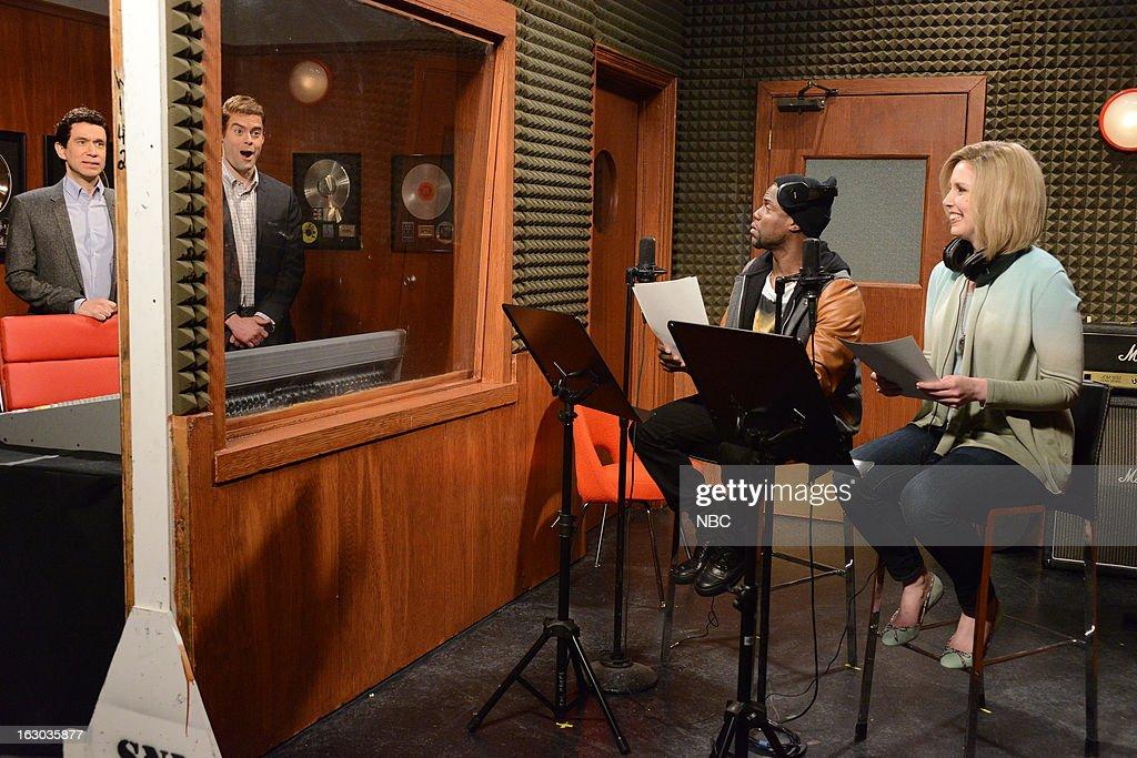 LIVE -- 'Kevin Hart' Episode 1635 -- Pictured: (l-r) Fred Armisen, Bill Hader, Kevin Hart, Vanessa Bayer --